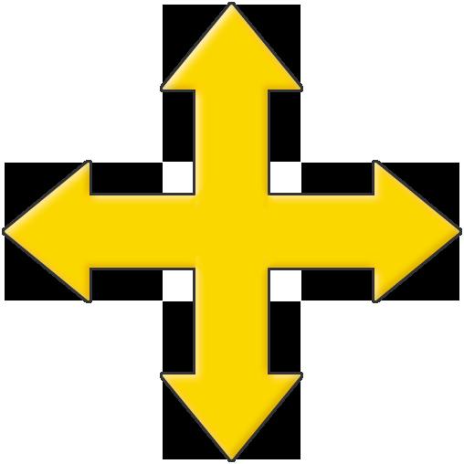 Abzeichen und Logo: Gelbes Pfeilkreuz