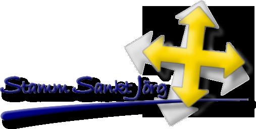 Logo: Gelbes Pfeilkreuz mit blauem Schriftzug Stamm Sankt Jörg